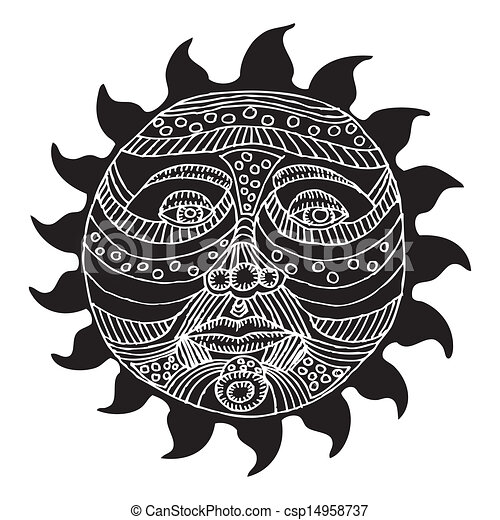 pretas, sol branco, ilustração - csp14958737