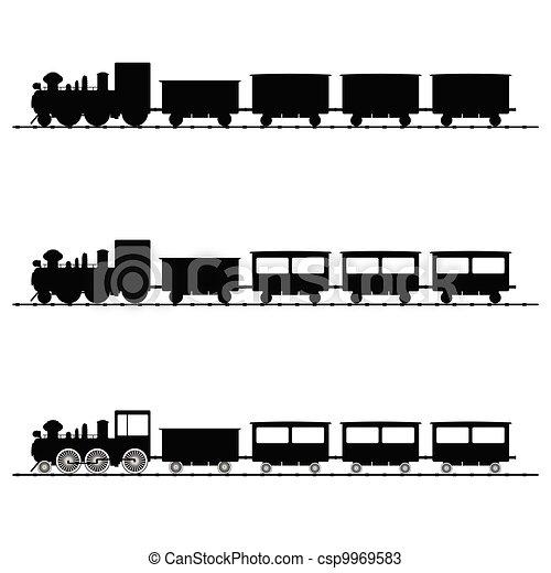 pretas, trem, vetorial, silueta, ilustração - csp9969583