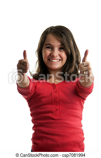Preteen girl two thumbs up - csp7081994
