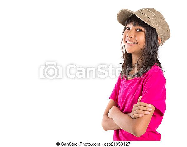preteen, menina, boné, jovem, asiático - csp21953127