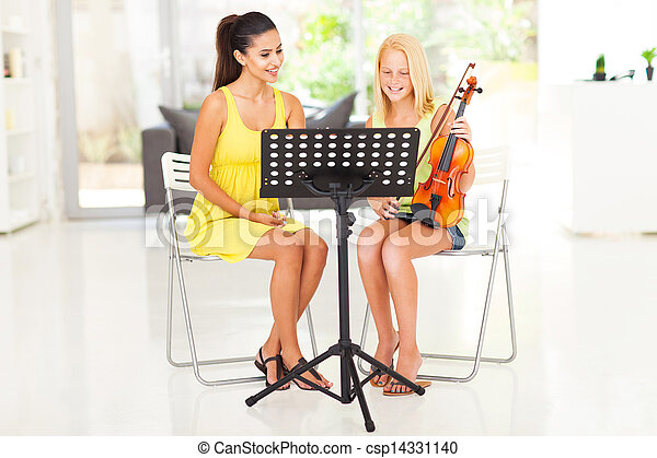 preteen, viool, meisje, les, hebben - csp14331140