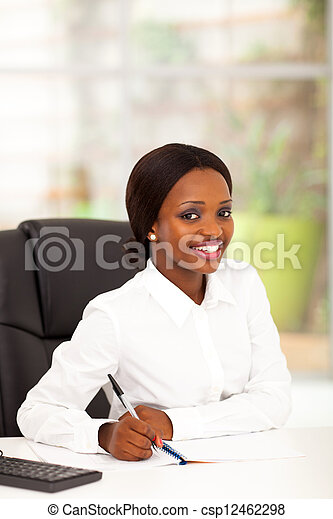 pretty african office worker - csp12462298