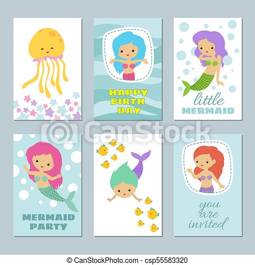 pretty baby mermaids birthday greeting card vector templates