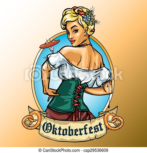 Pretty Bavarian girl eating sausage - csp29536609