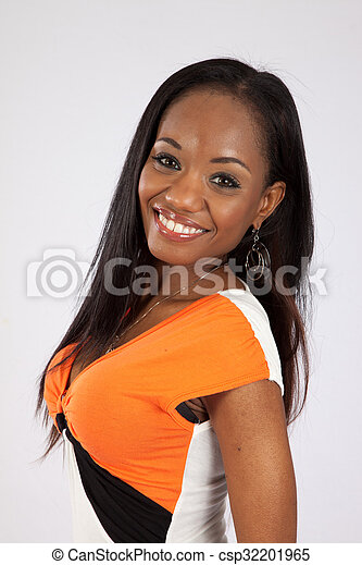 Pretty black woman in a dress - csp32201965