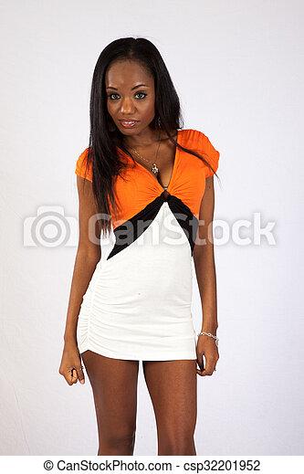 Pretty black woman in a dress - csp32201952