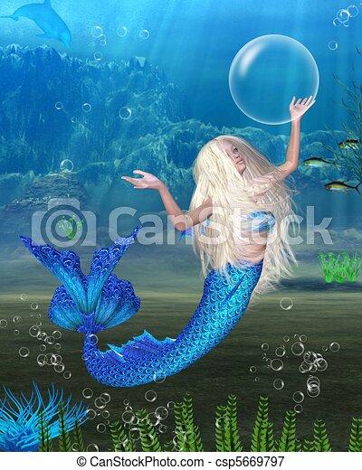 Pretty Blonde Mermaid scene - csp5669797