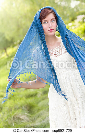 Pretty Blue Eyed Young Red Haired Adult Female Outdoor Portrait - csp6921729