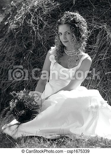 Pretty bride sat in field - csp1675339