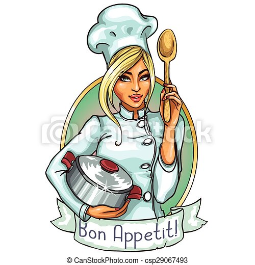 Pretty Chef with pot and spoon. - csp29067493