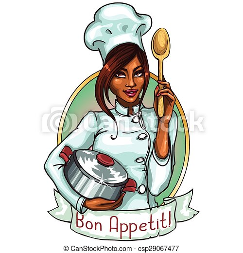Pretty Chef with pot and spoon. - csp29067477