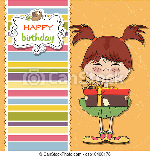 pretty doodle girl with gift - csp10406178