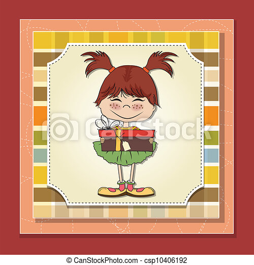 pretty doodle woman with gift - csp10406192