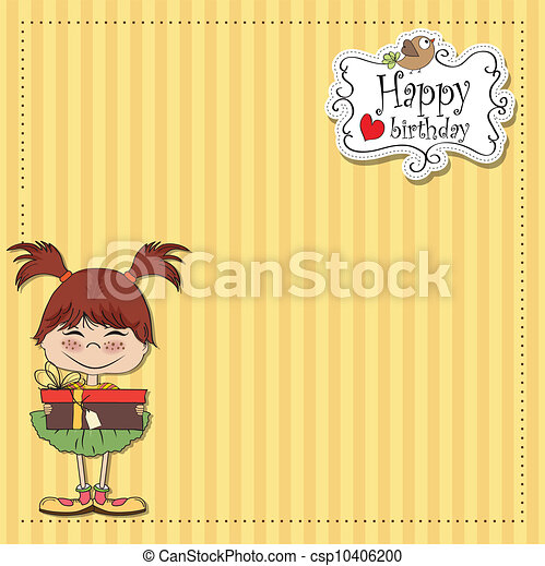 pretty doodle woman with gift - csp10406200