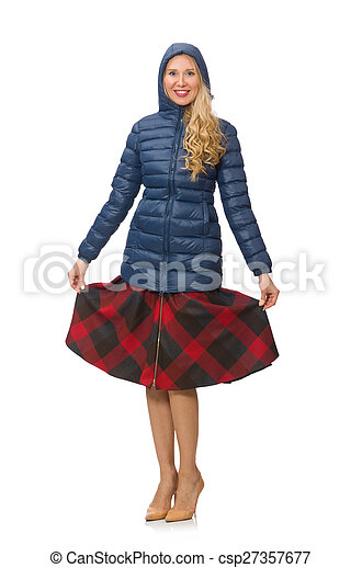 Pretty female model in blue jacket isolated on white - csp27357677