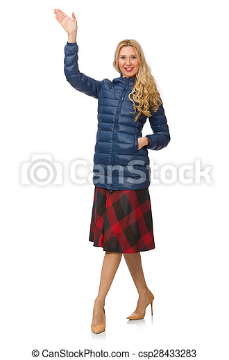Pretty female model in blue jacket isolated on white - csp28433283