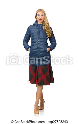 Pretty female model in blue jacket isolated on white - csp27808243