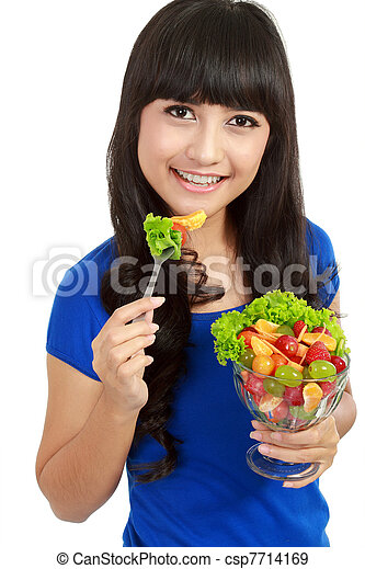 Pretty girl eating fruit salad, healthy fresh breakfast, dieting and health care concept. in isolated white background - csp7714169