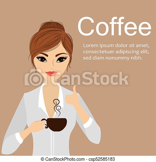Pretty girl holding a cup of coffee - csp52585183