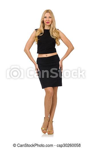 Pretty girl in black mini dress isolated on white - csp30260058