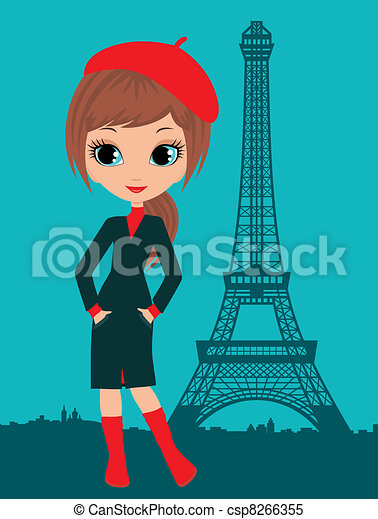 pretty girl in the paris rh canstockphoto com French Girl Clip Art French Food