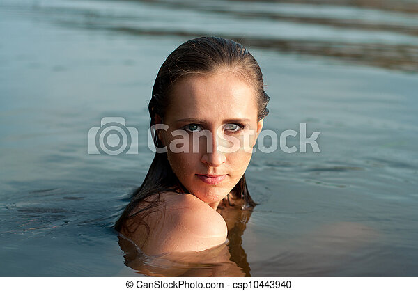 Pretty girl in water  - csp10443940