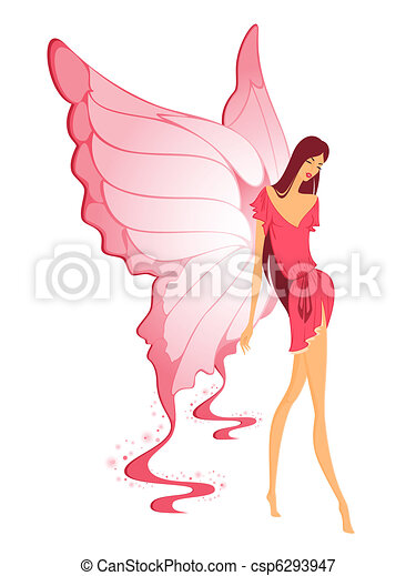 pretty girl with butterfly  - csp6293947