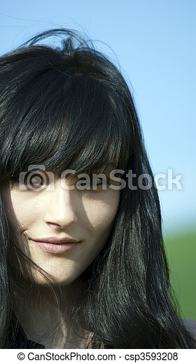 green hair black girl Beautiful eyes with