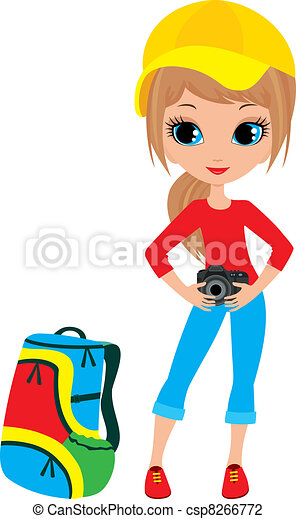 Pretty girl with the camera - csp8266772