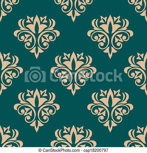 Pretty Green Retro Floral Motif Wallpaper Design In A Seamless
