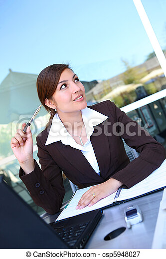 Pretty Hispanic Business Woman - csp5948027