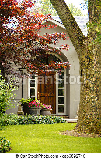 Pretty Home Entrance with Flowers - csp6892740