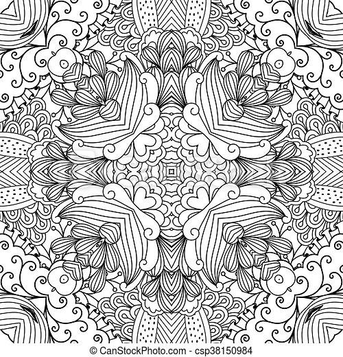 Pretty Kaleidoscope Background With Floral Designs And Other