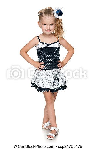 Pretty little girl in a fashion dress - csp24785479