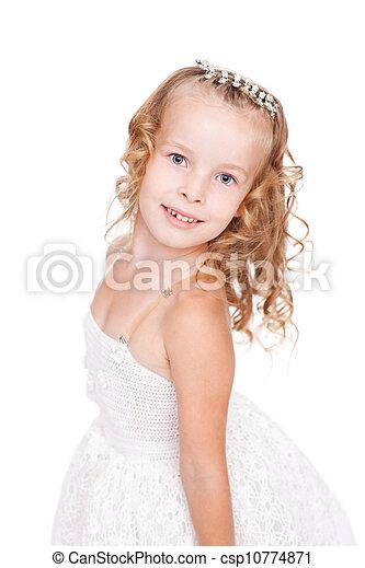 pretty little girl in beautiful white dress - csp10774871