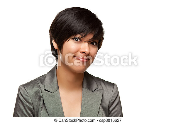 Pretty Multiethnic Young Adult Woman Head Shot on White - csp3816627