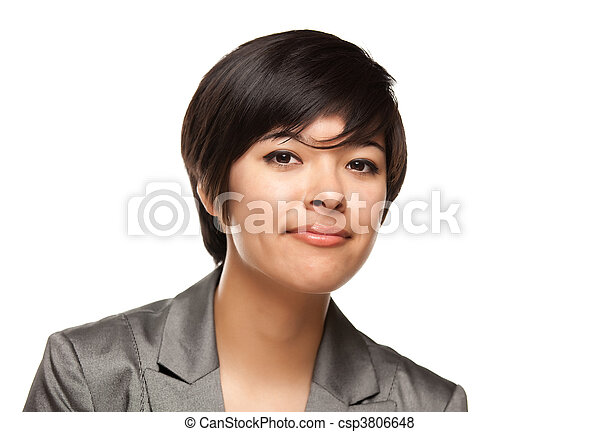Pretty Multiethnic Young Adult Woman Head Shot on White - csp3806648
