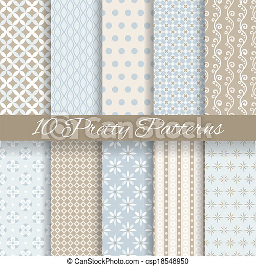 Pretty pastel vector seamless patterns (tiling, with swatch) - csp18548950