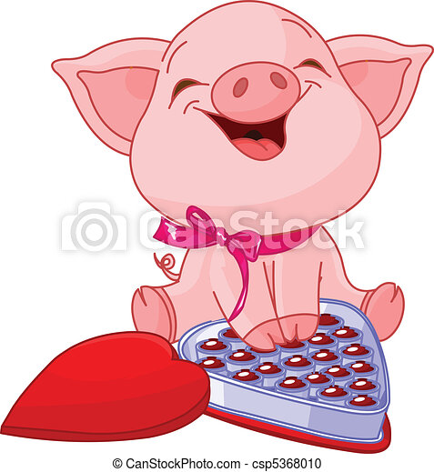 Pretty pig at Valentines Day - csp5368010