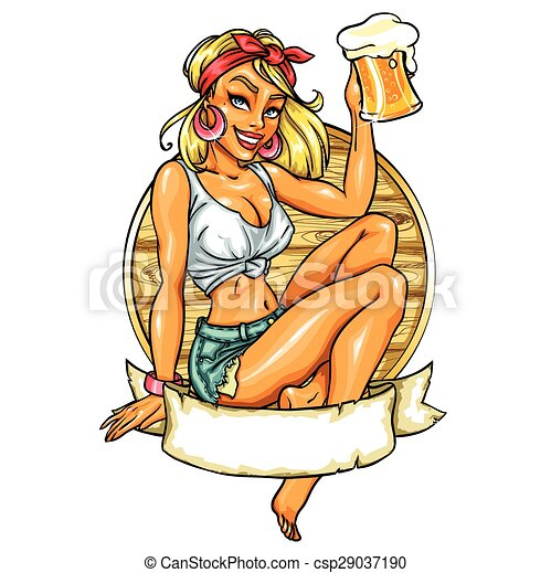 Pretty Pin Up Girl holding beer mug.  - csp29037190