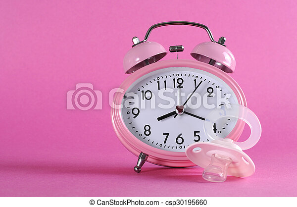 6bfe76d0818cbd Pretty pink vintage retro style alarm clock with baby dummy pacificer on  pink background for baby