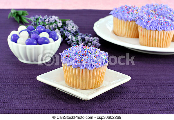 Pretty purple cupcakes and jelly beans for Easter