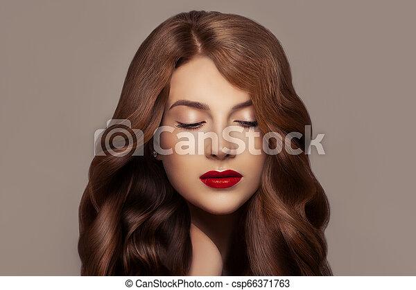 Pretty Redhead Woman Beautiful Redhead Girl With Wavy Haircut And Perfect Makeup Cute Face Closeup