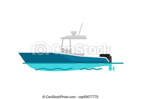 Pretty Sea Boat Color Template Vector Illustration - csp59077770