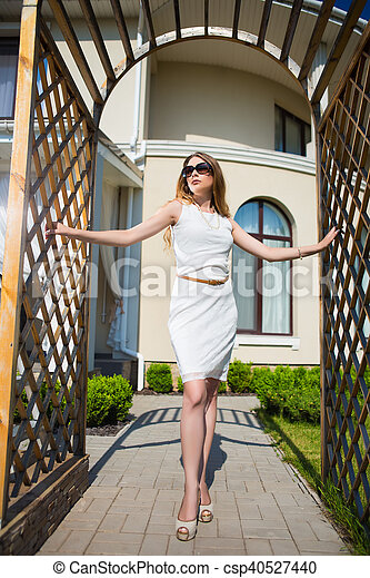 Pretty slim blond woman - csp40527440