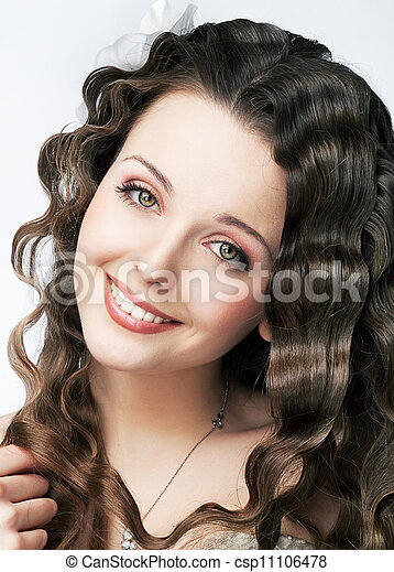 Pretty smile of young fresh woman beauty makeup and hair - csp11106478