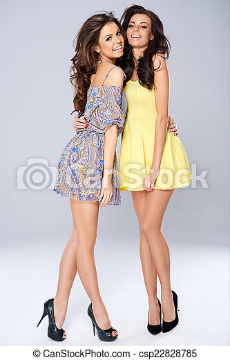 Pretty Smiling Ladies in Sexy Dress - csp22828785
