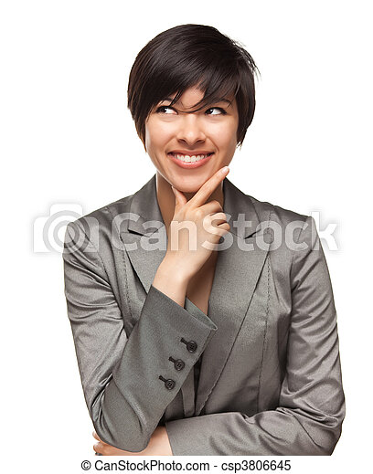 Pretty Smiling Multiethnic Young Adult Woman with Eyes Up and Over Isolated on a White Background. - csp3806645