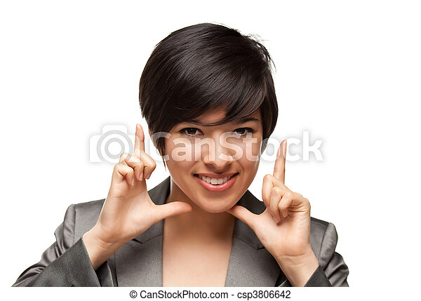 Pretty Smiling Multiethnic Young Adult Woman Framing Her Face with Her Hands Isolated on a White Background. - csp3806642