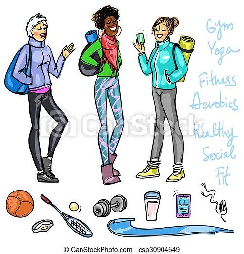 Pretty sporty women chatting  - csp30904549